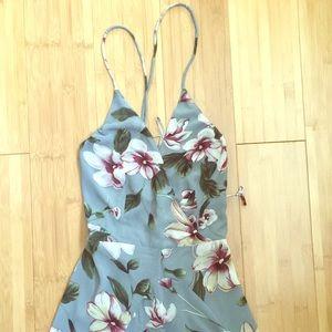 Meghan LA Gray Dress with Floral Print